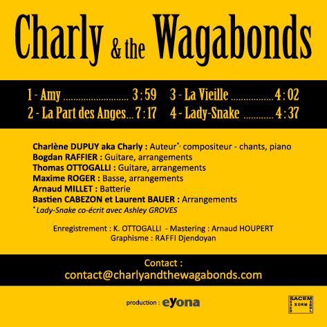 Charly and the Wagabonds - Pochette EP Live, verso